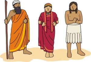 Abraham, Sarah & Lot dressed in Mesopotamian clothes.