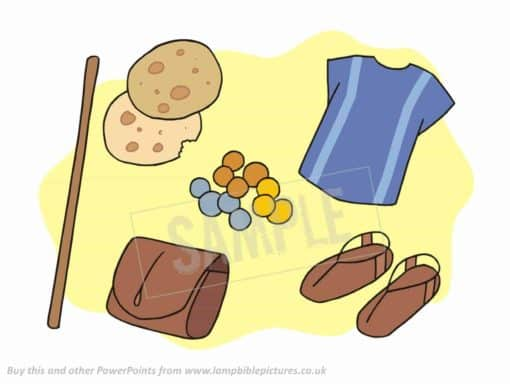 Staff, bread, purse, money, sandals, tunic