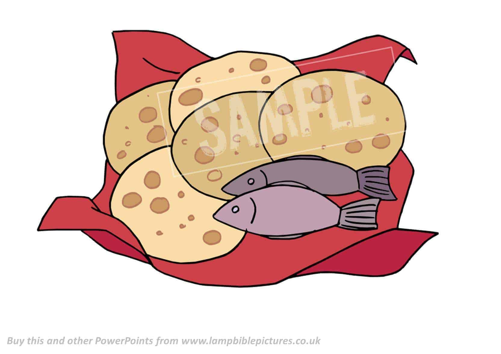 2 fish and 5 loaves of bread coloring pages for Fishes and loaves