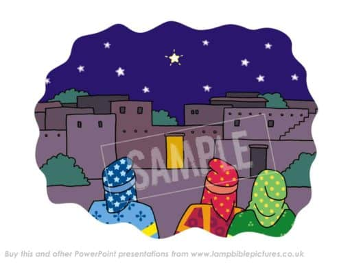Magi (wise men) see the star stop over the house.