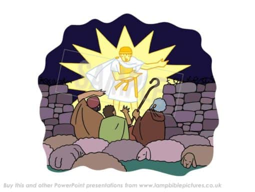 The angel appears to the shepherds in the fields
