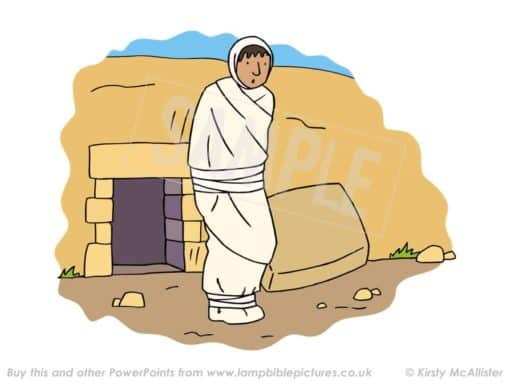 Lazarus comes out from the tomb.