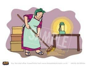 The woman lights a lamp and sweeps