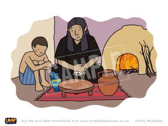 The widow makes a cake of bread for Elijah