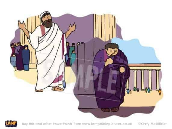 A Bible story PowerPoint slide about the parable of the Pharisee and the tax collector (publican)