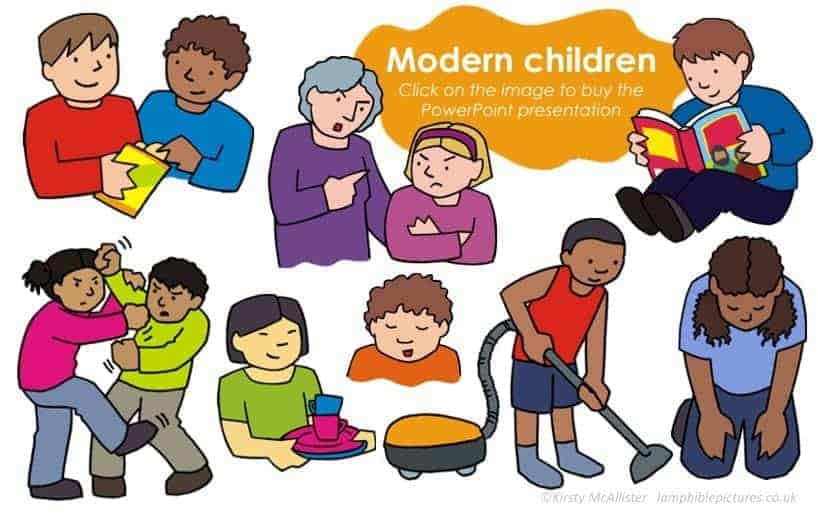 Modern children Bible application pictures PowerPoint