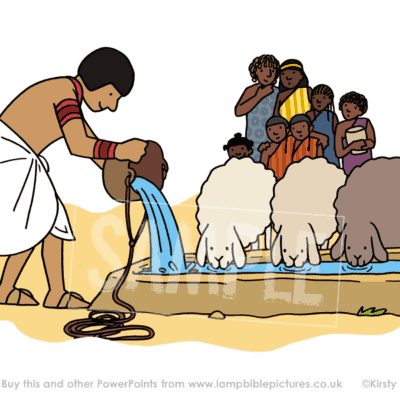 Moses gets water for the sheep