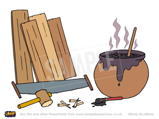 Wood, tools, pitch