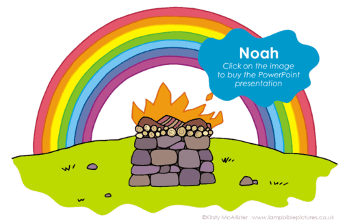 A Bible story PowerPoint slide about Noah and the ark